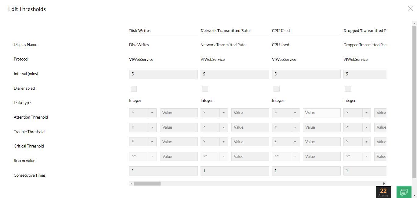VMware templates - Edit thresholds