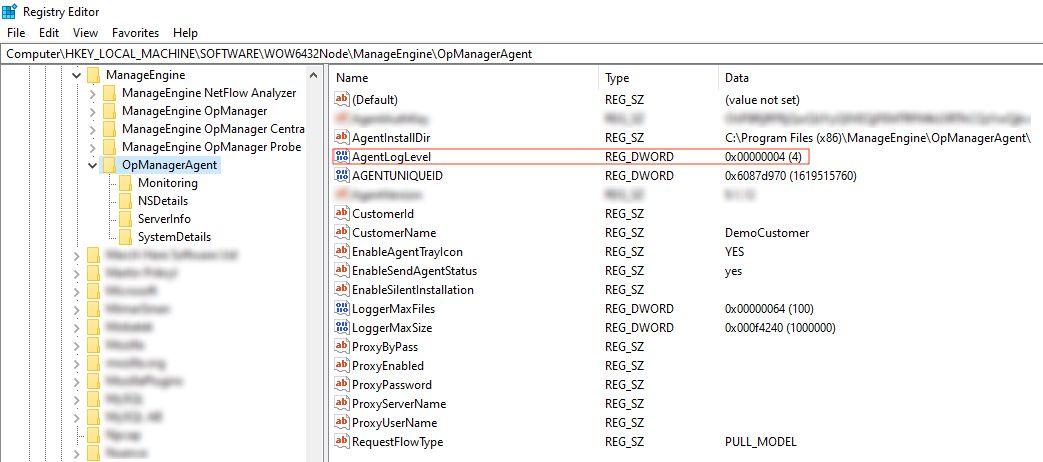 Registry editor window for enabling OpManager debug logging in agent device