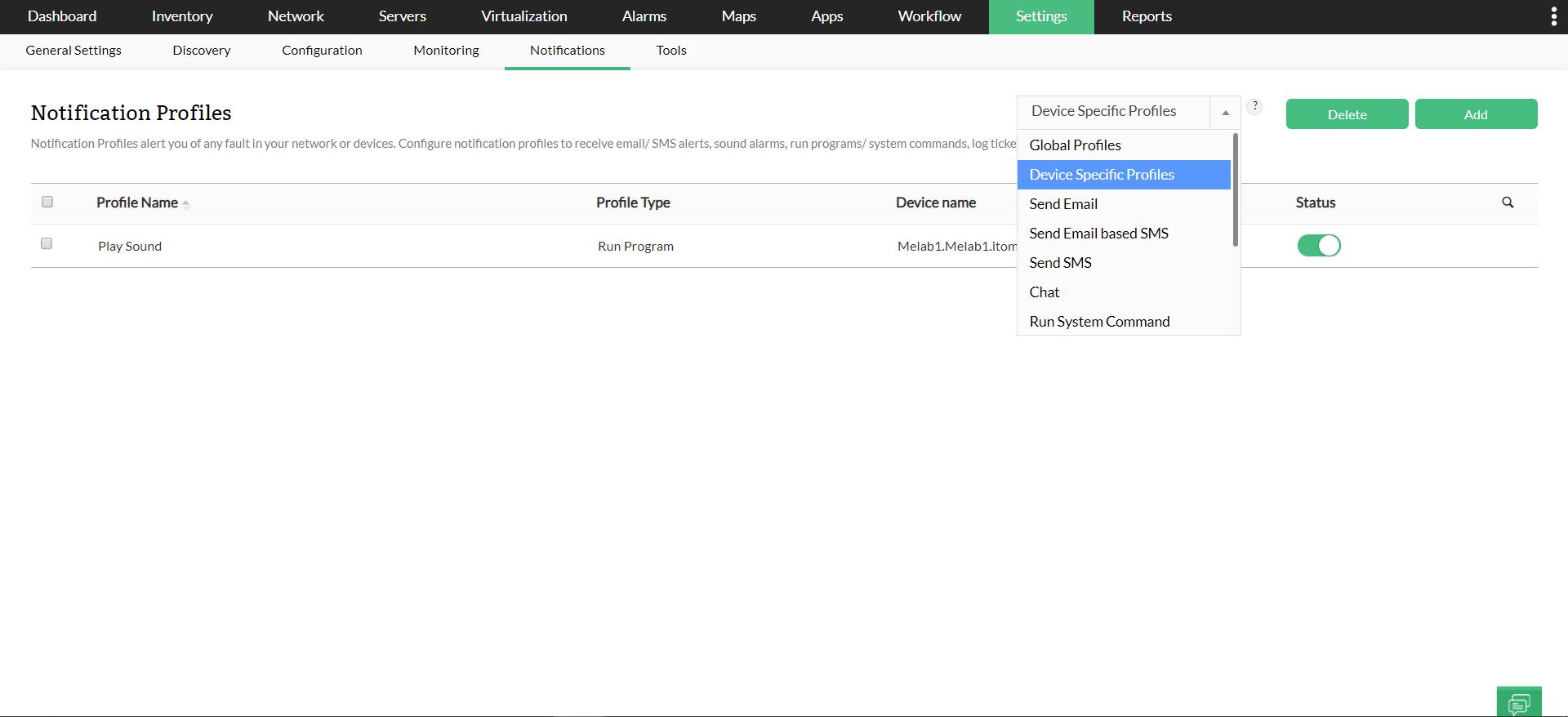 Para asociar el perfil de notificación a un monitor existente