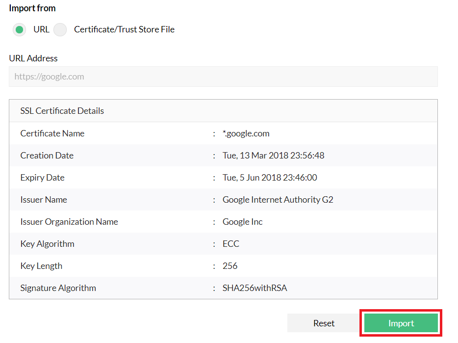 verify and import the fetched certificate
