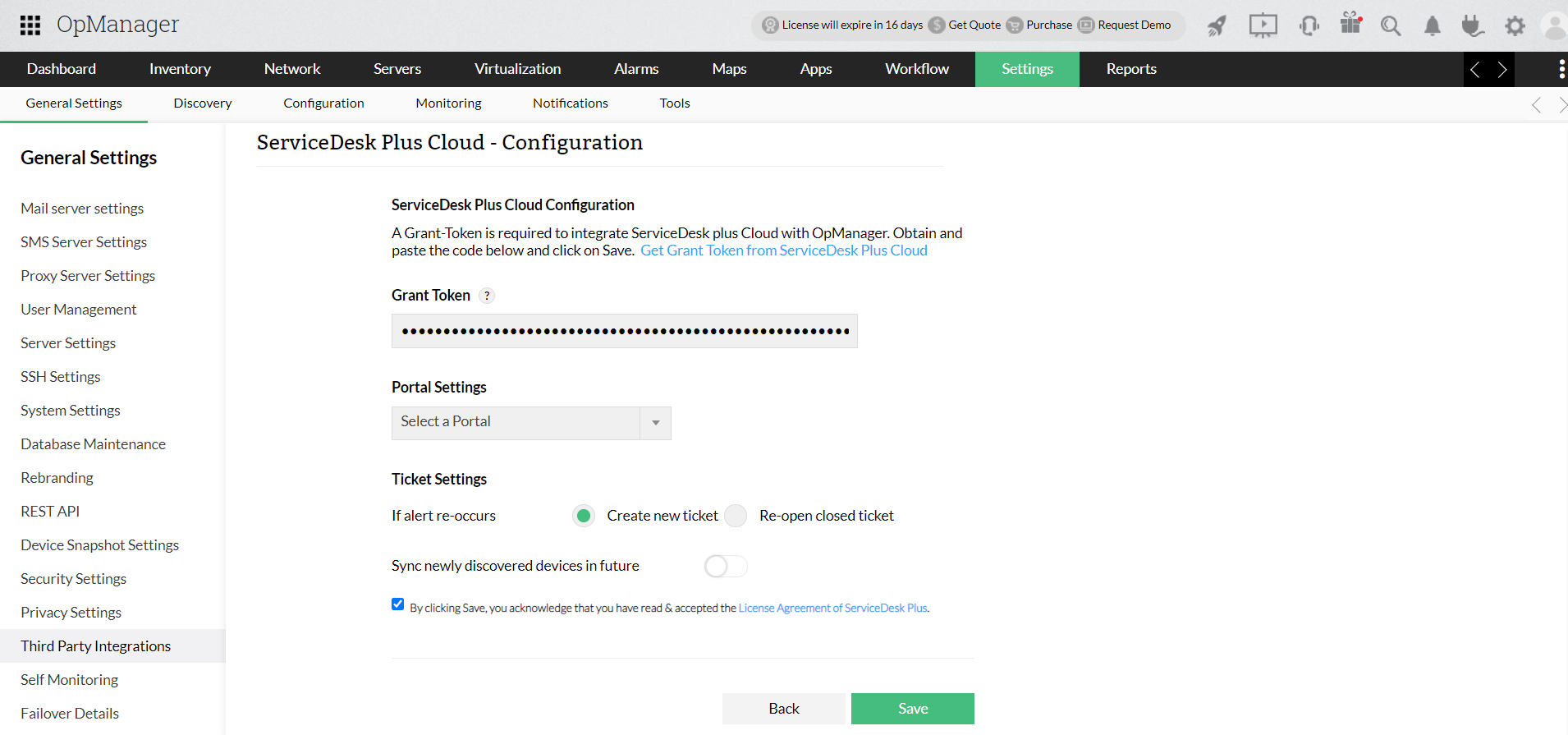 ServiceDesk Plus (SDP) Cloud Integration with OpManager - ManageEngine