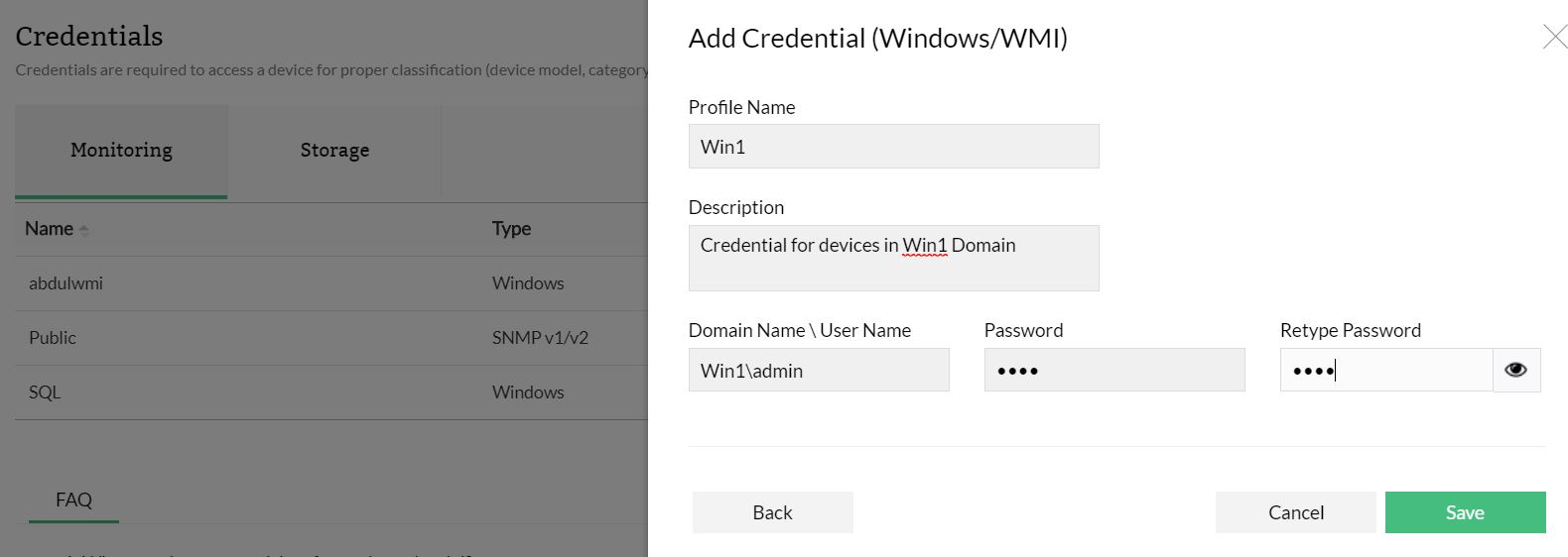 Configuring WMI Credentials