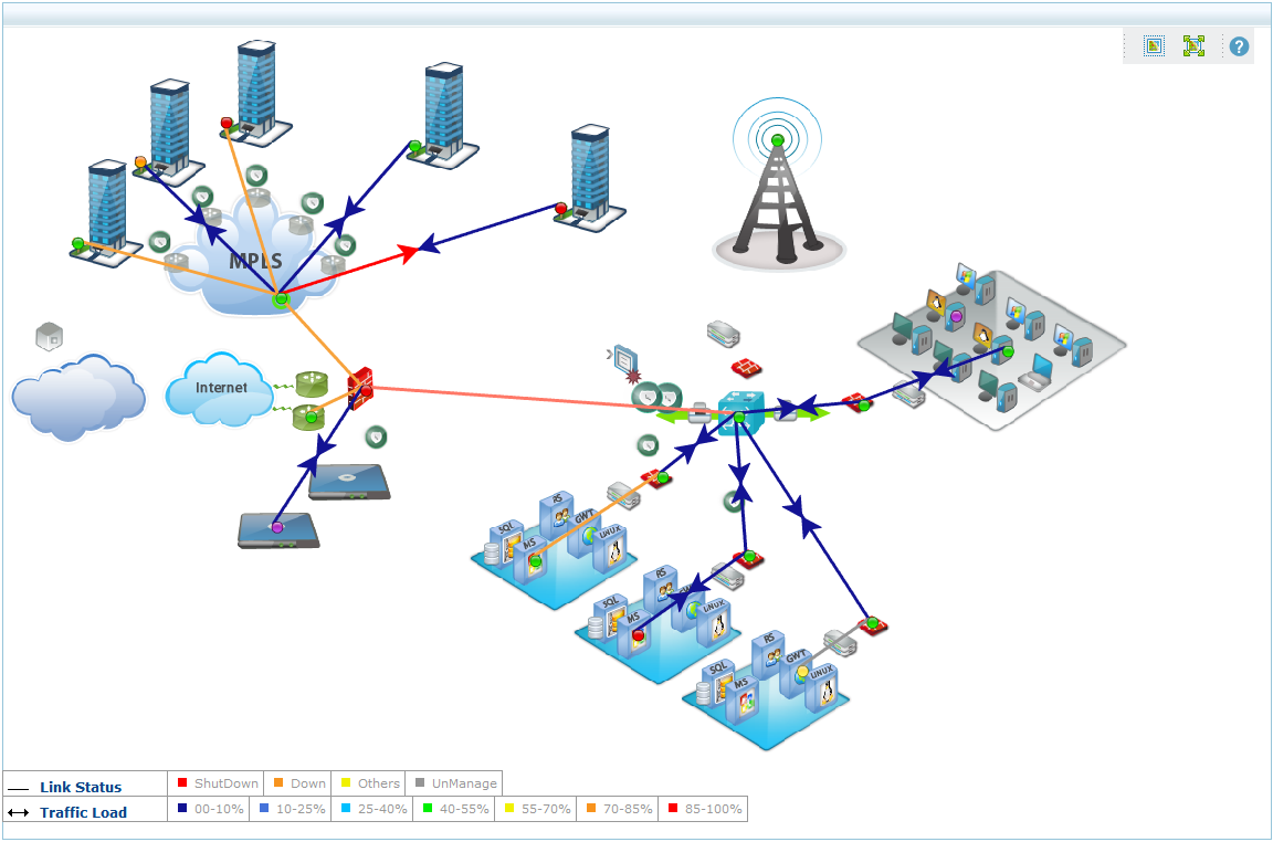 Custom network maps & Business views | ManageEngine OpManager on map simulation, map policy, map strategy, map assessment,