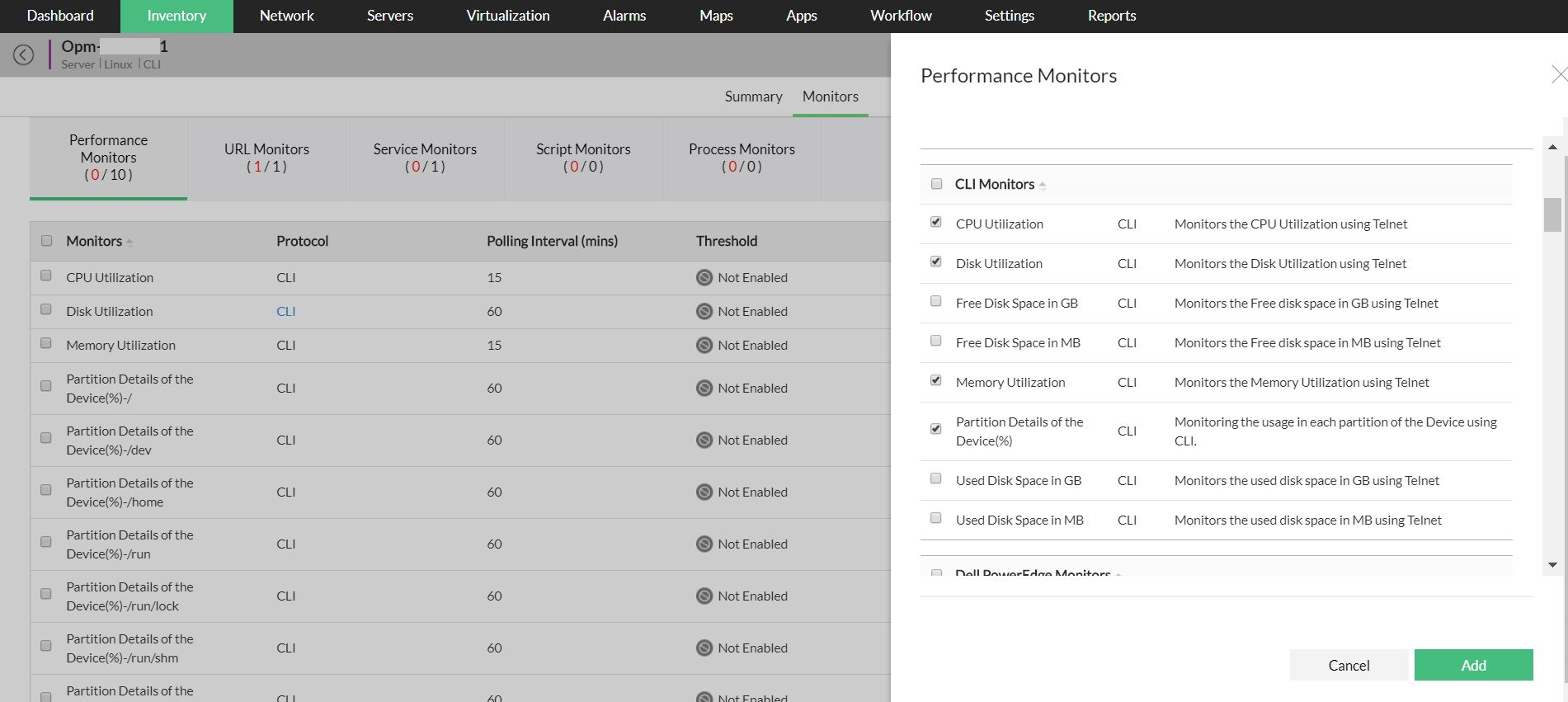 CPU Memory Disk Performance Monitor – ManageEngine OpManager
