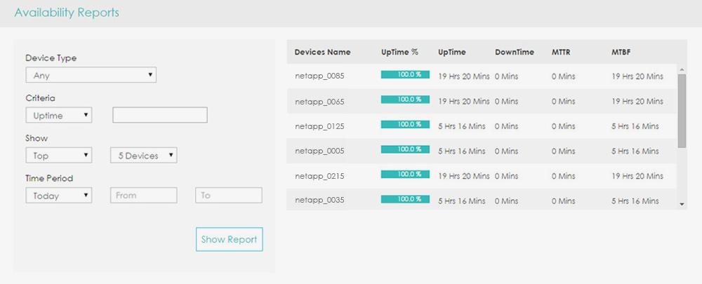 NetApp Availability Reports