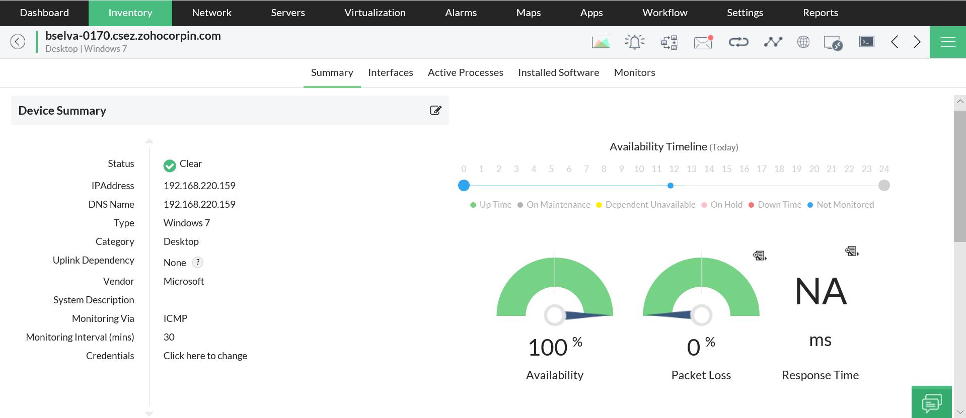 Monitor de pérdida de paquetes de red: ManageEngine OpManager