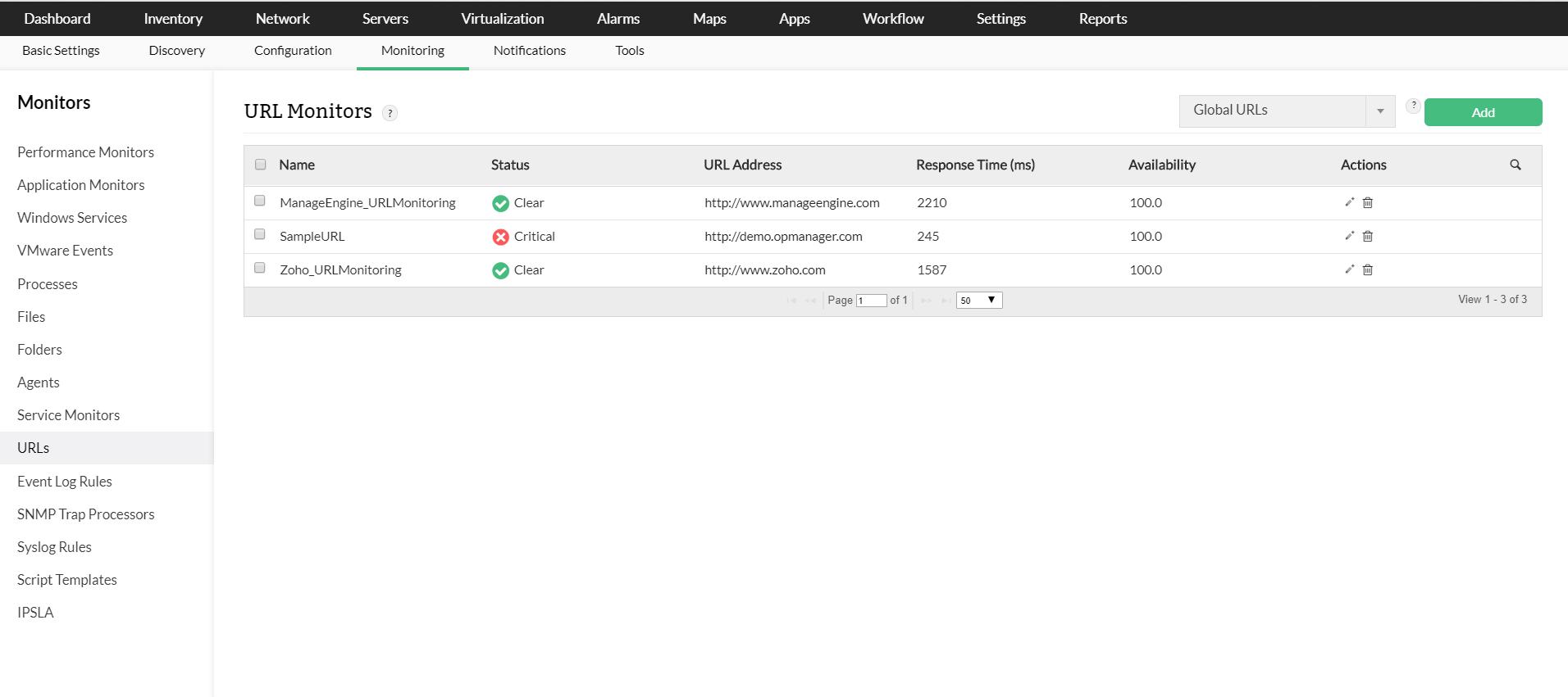 Herramientas de prueba de rendimiento de red: ManageEgnine OpManager