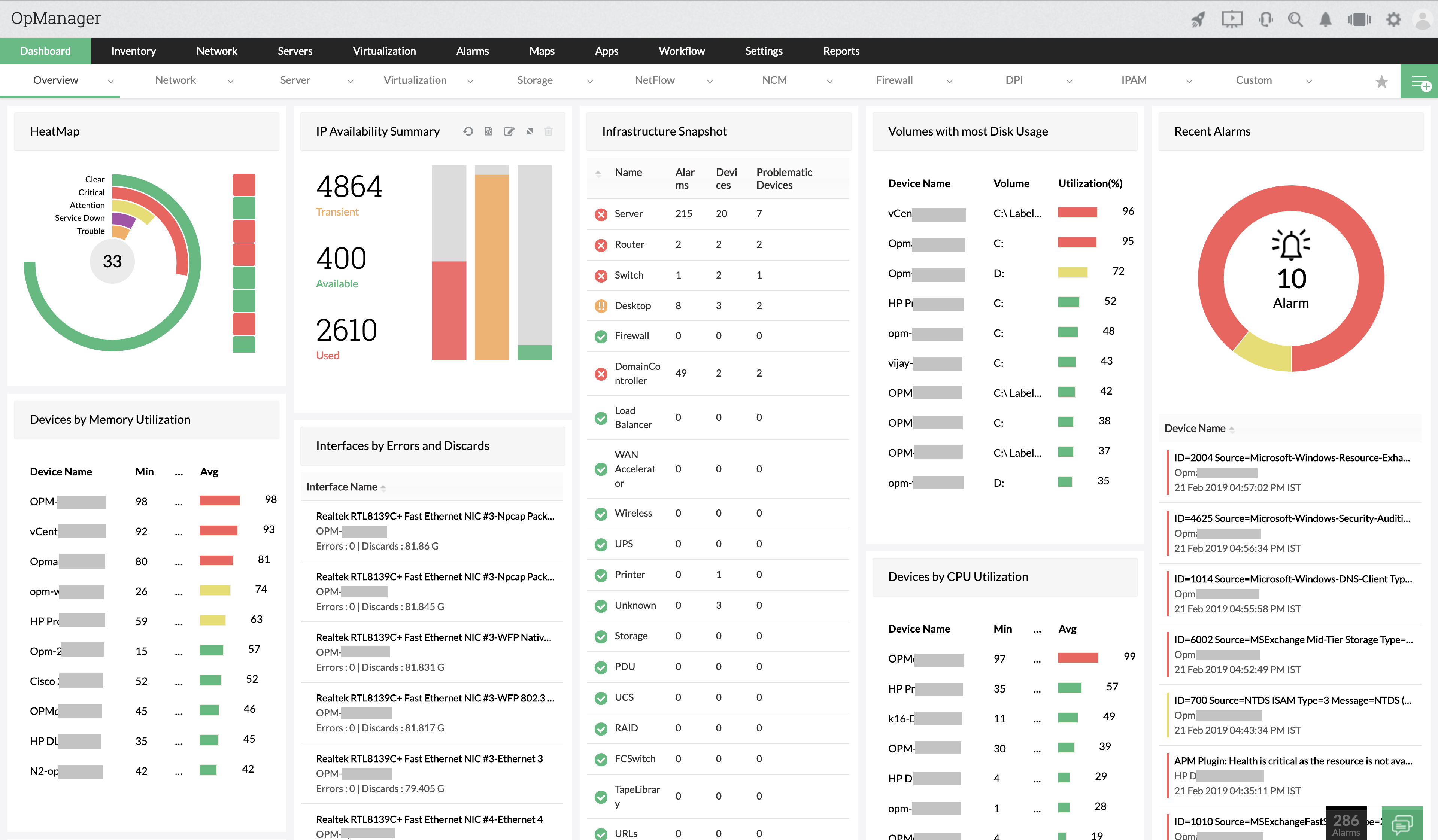 Network Software Dashboard - ManageEngine OpManager