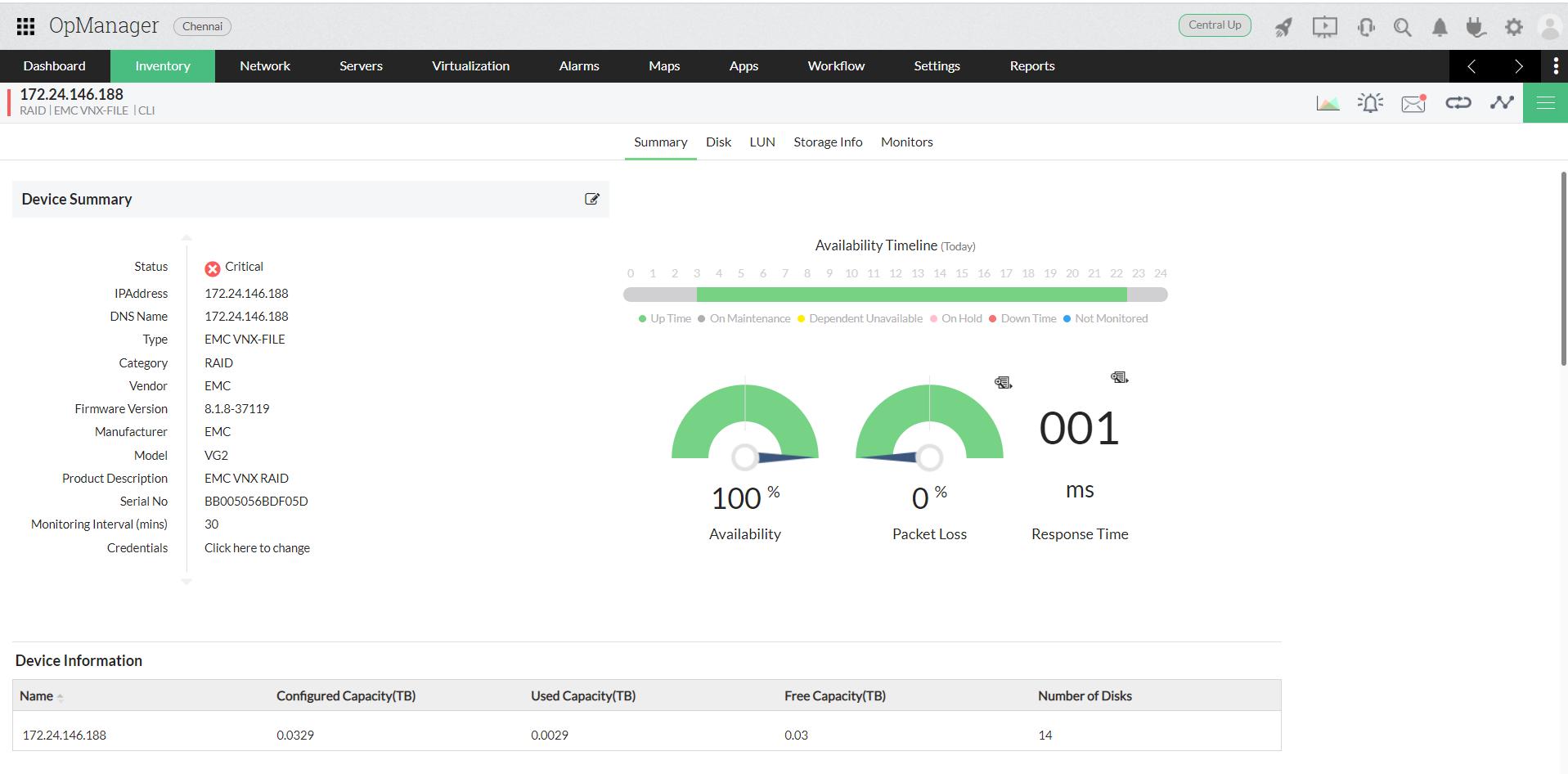 Software de supervisión SAN - ManageEngine OpManager