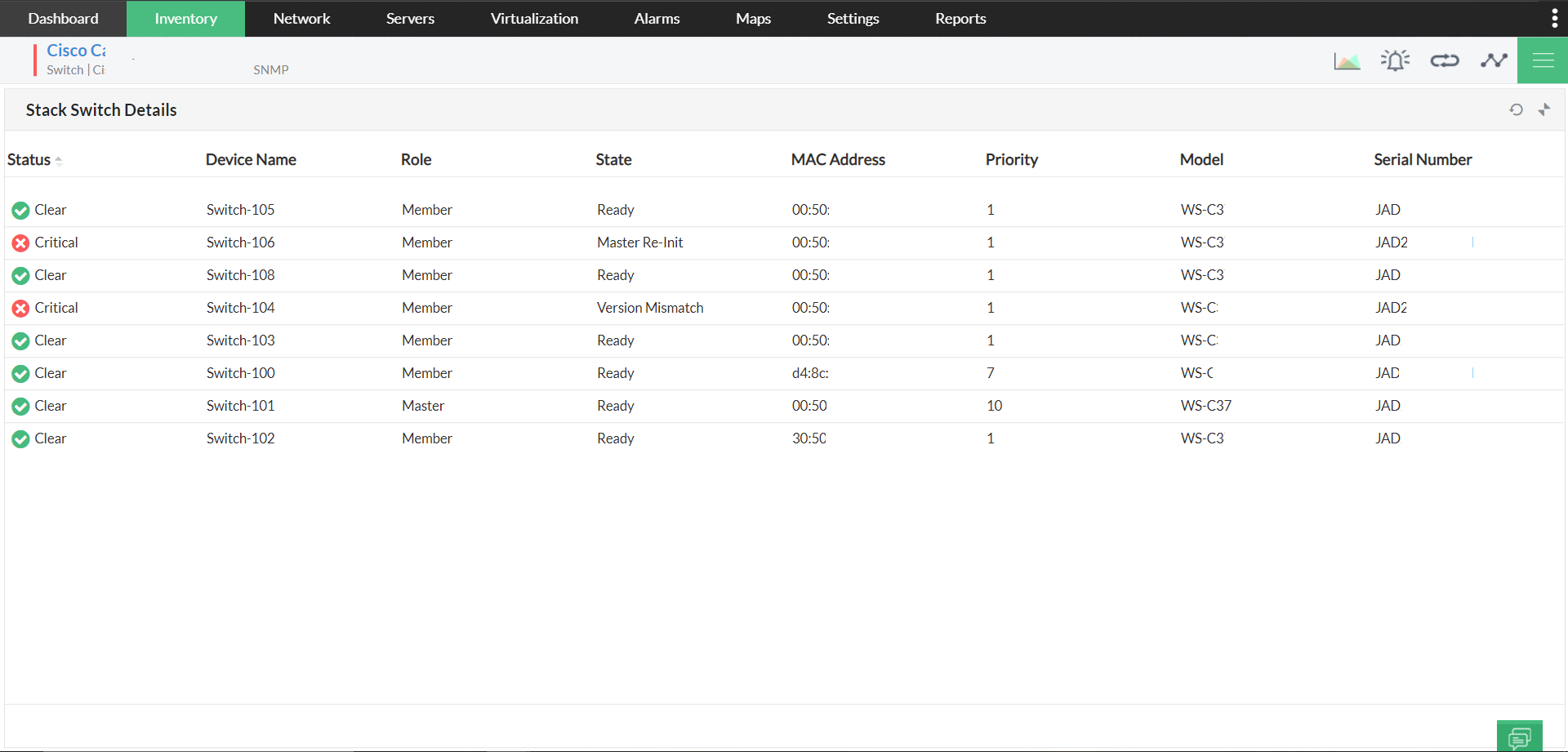 Network Switch Stack Monitoring Software - ManageEngine OpManager