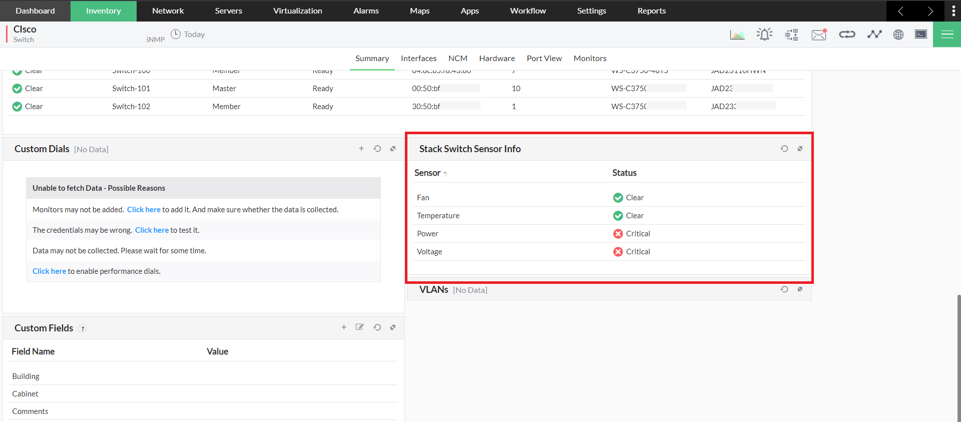 Monitor Cisco Switch Stacking - ManageEngine OpManager