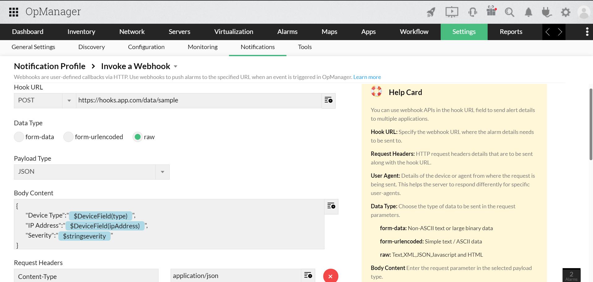 Webhook OpManager integration - ManageEngine OpManager