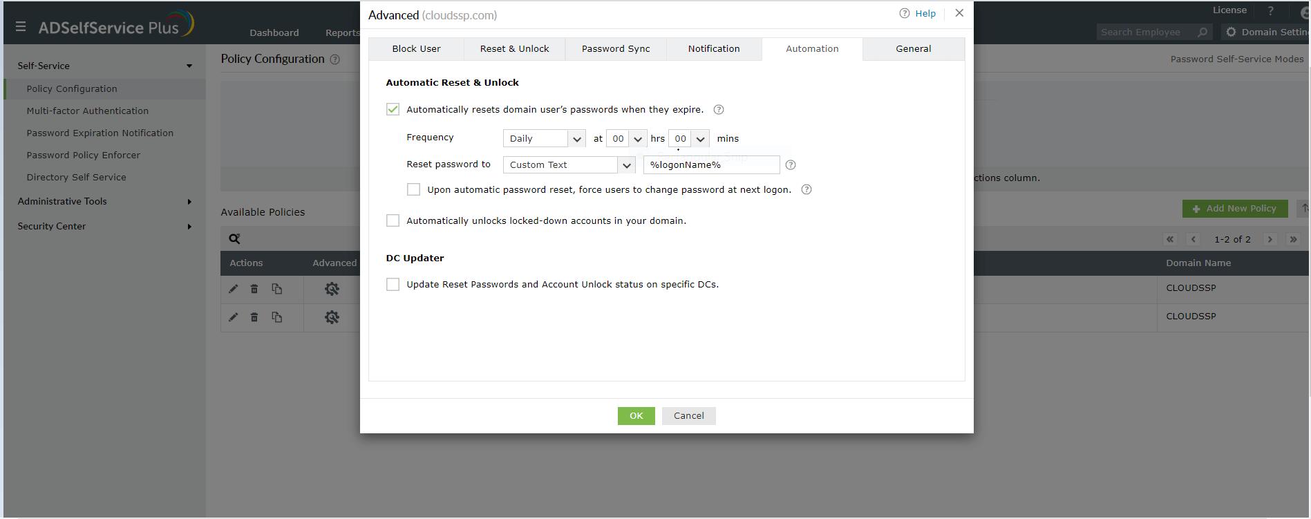 Configuratie van automatisch opnieuw instellen