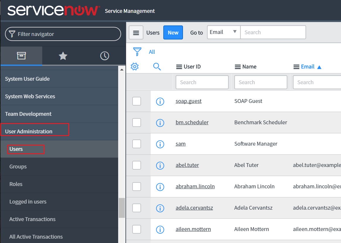servicenow-users-administration