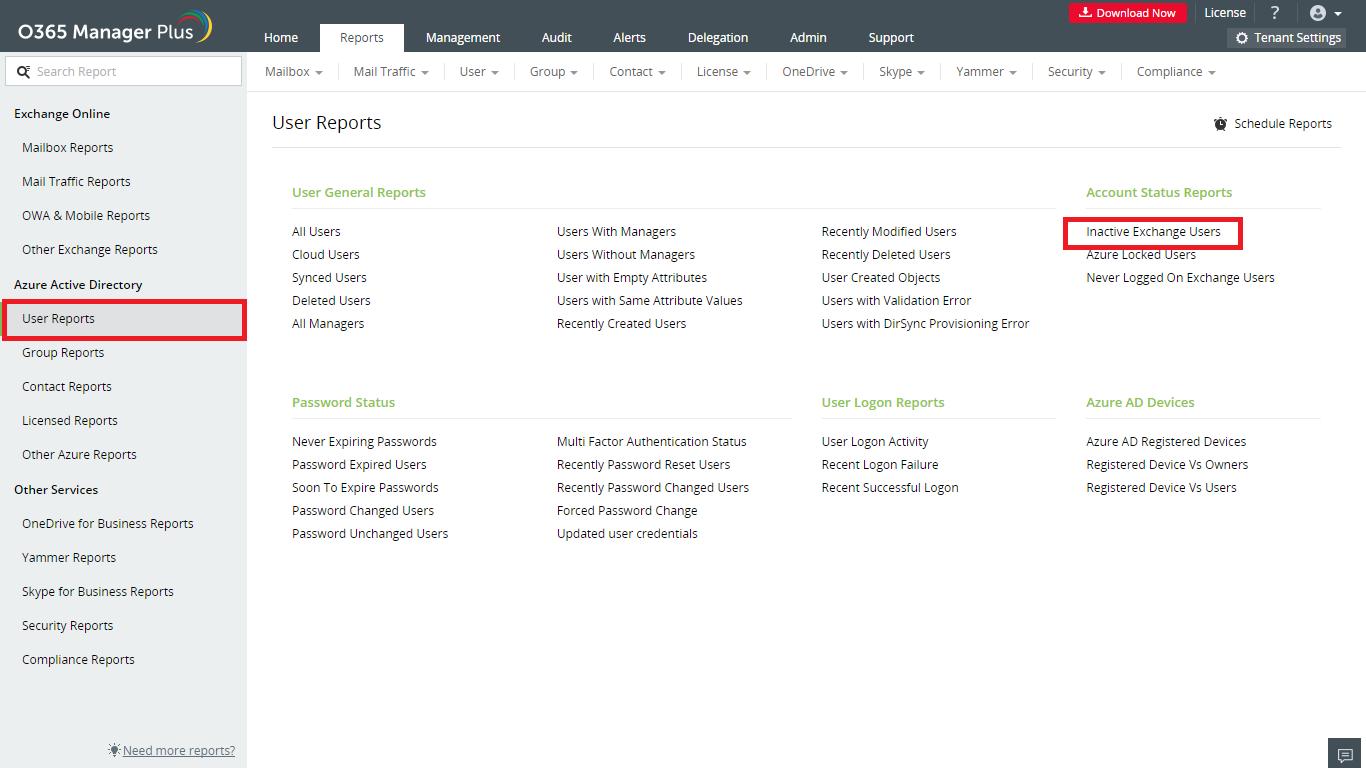 Inactive Exchange Users Reports