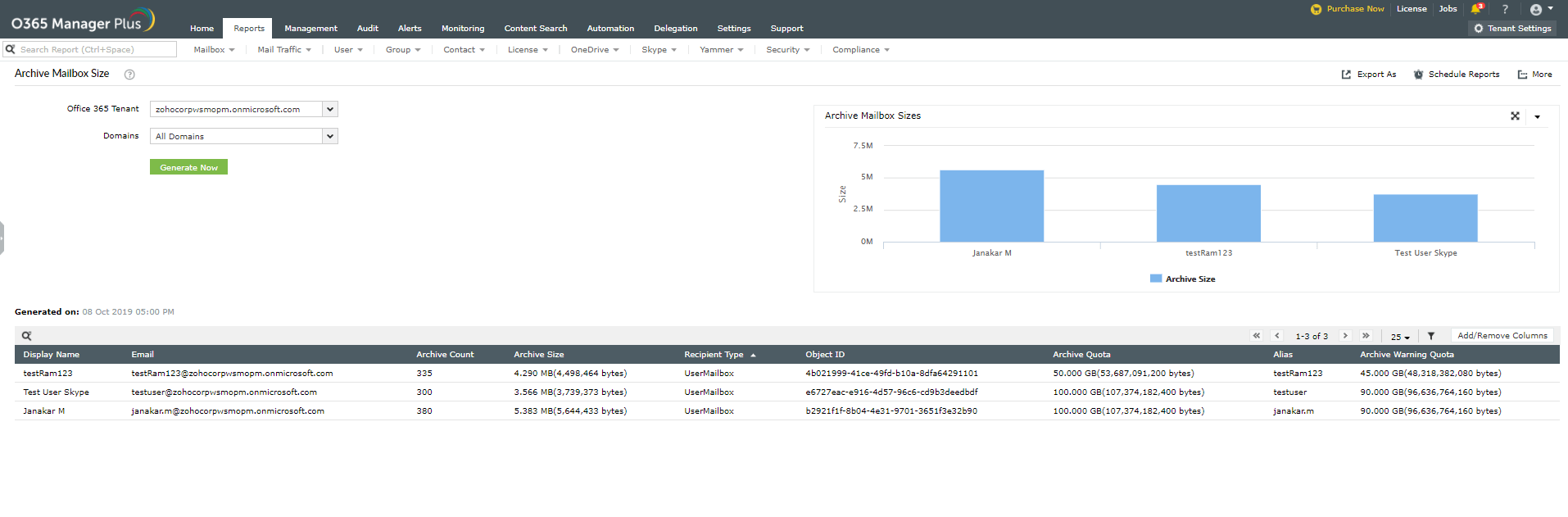 Office 365 Archive Mailbox Size Report