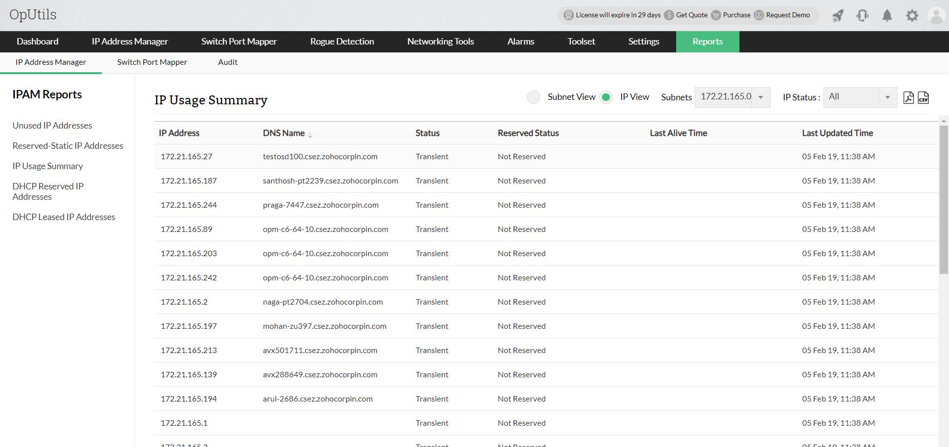 Zarządzanie adresami IP Raporları - ManageEngine Oputils