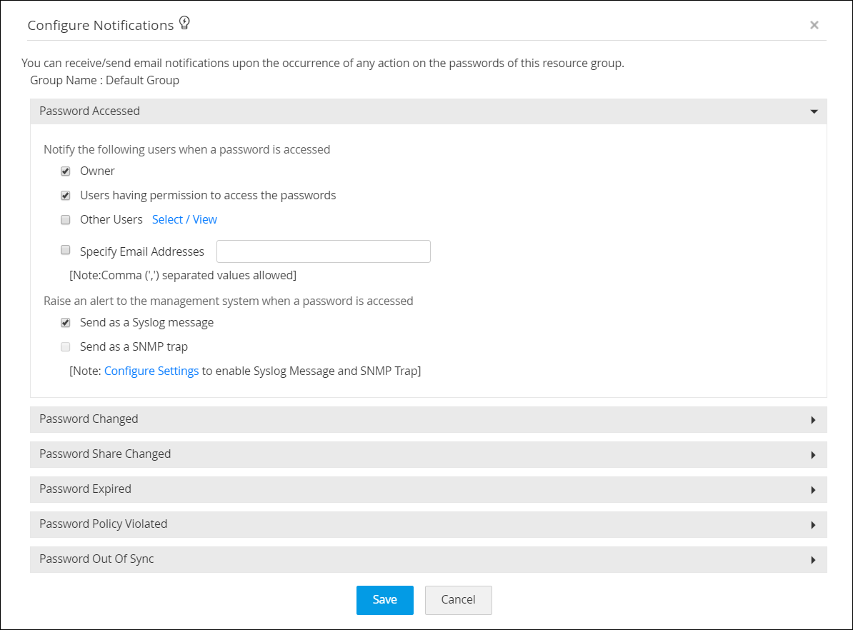 Configuring  syslog event notifications in PAM360