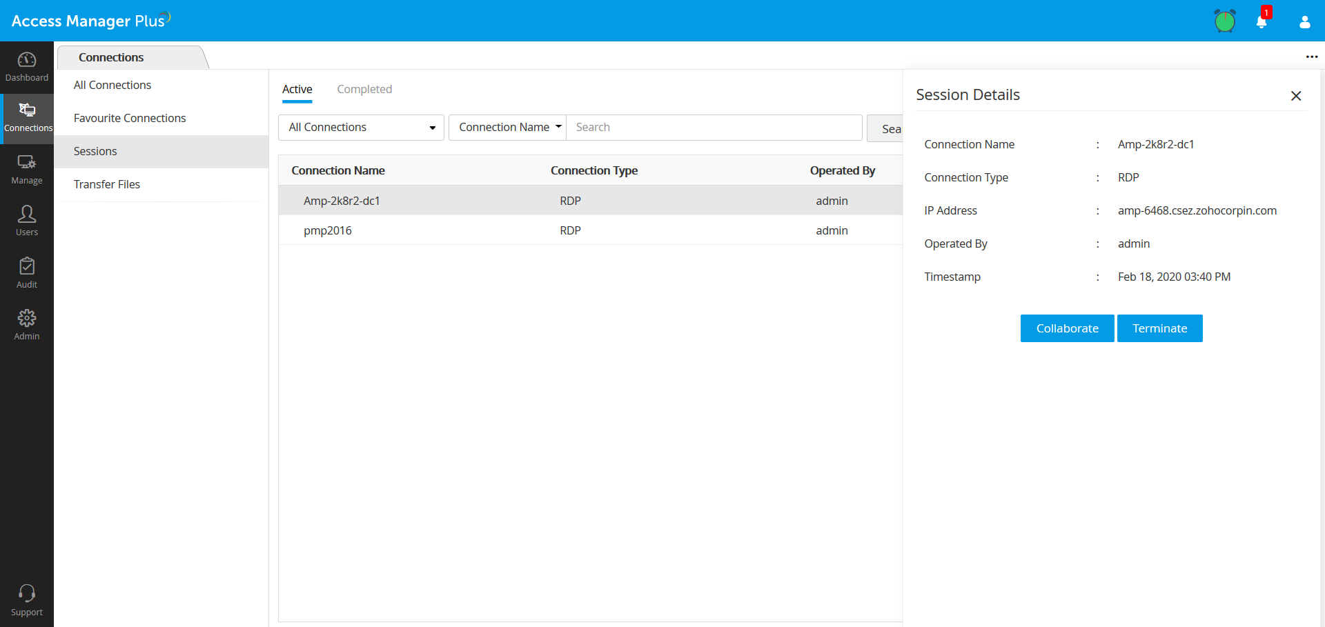 Real-time session shadowing collaboration in Access Manager Plus