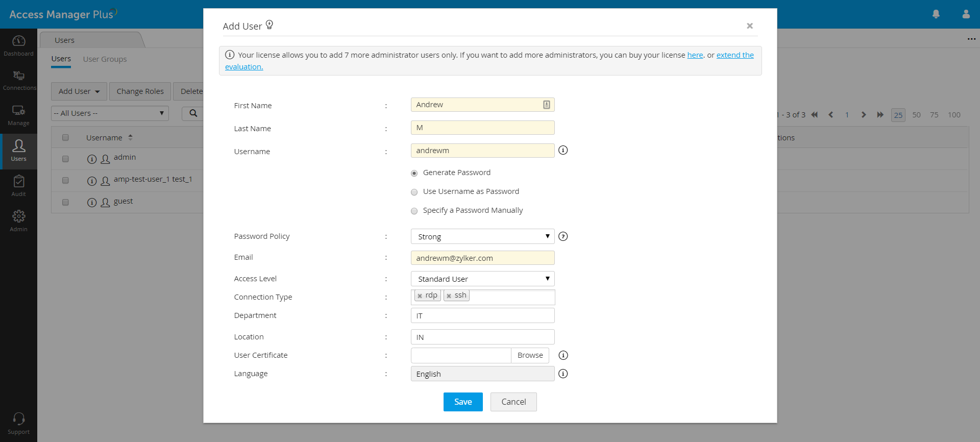 Adding a user manually in Access Manager Plus