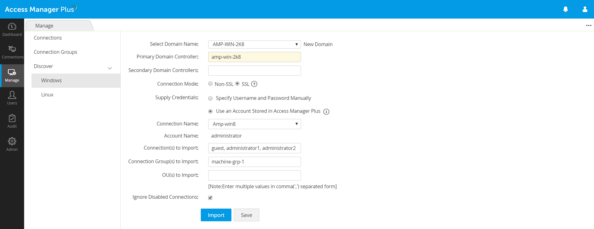 remote connections discovery in Access Manager Plus