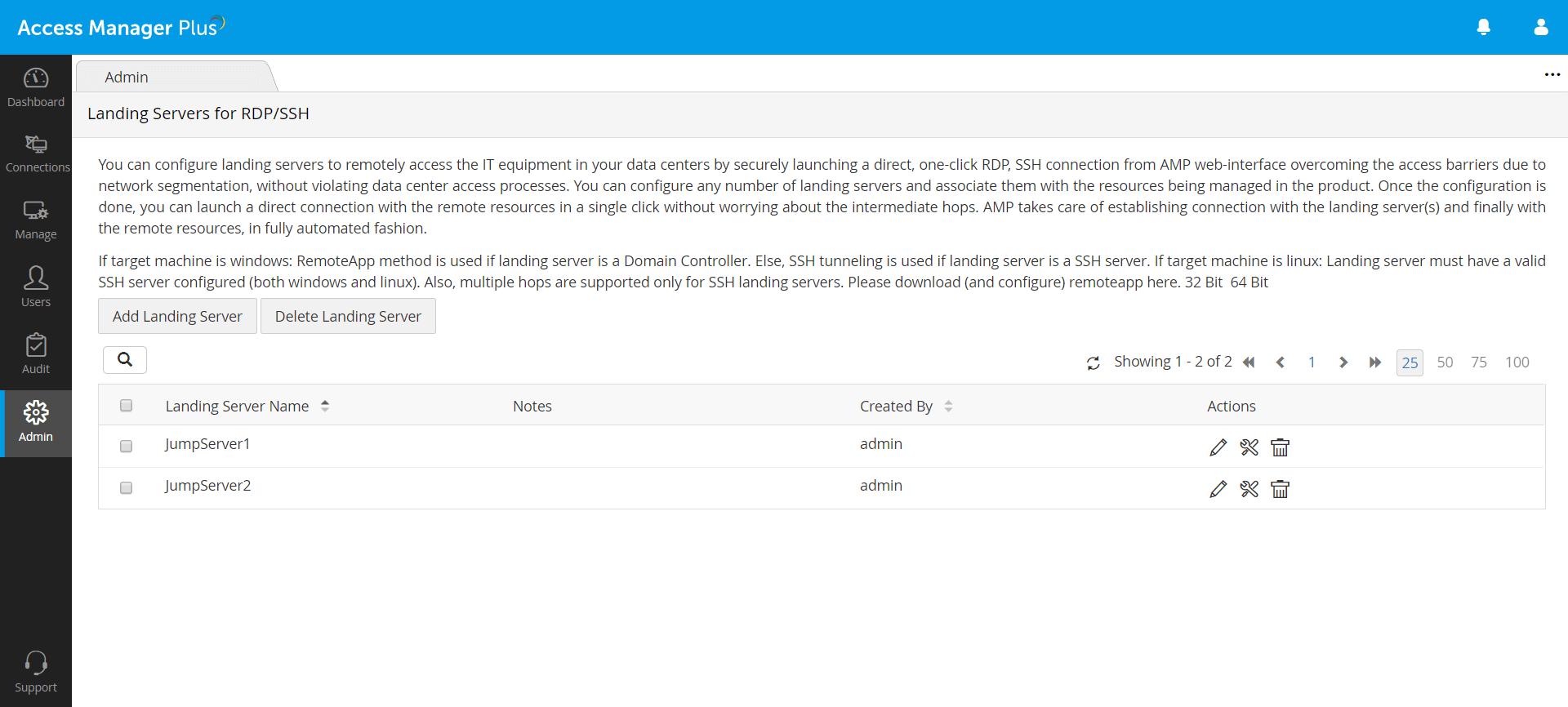 establishing RDP/SSH landing servers Access Manager Plus