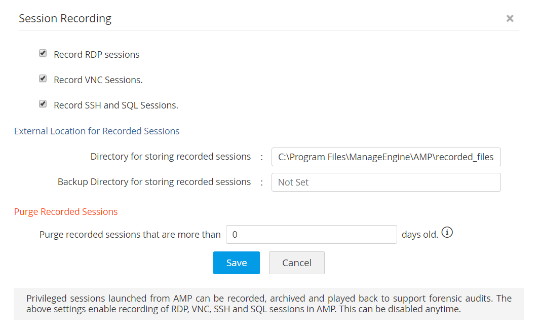 privileged session recording Access Manager Plus