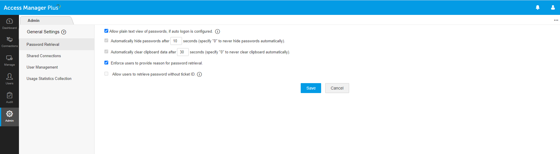 password retrieval restrictions in Access Manager Plus