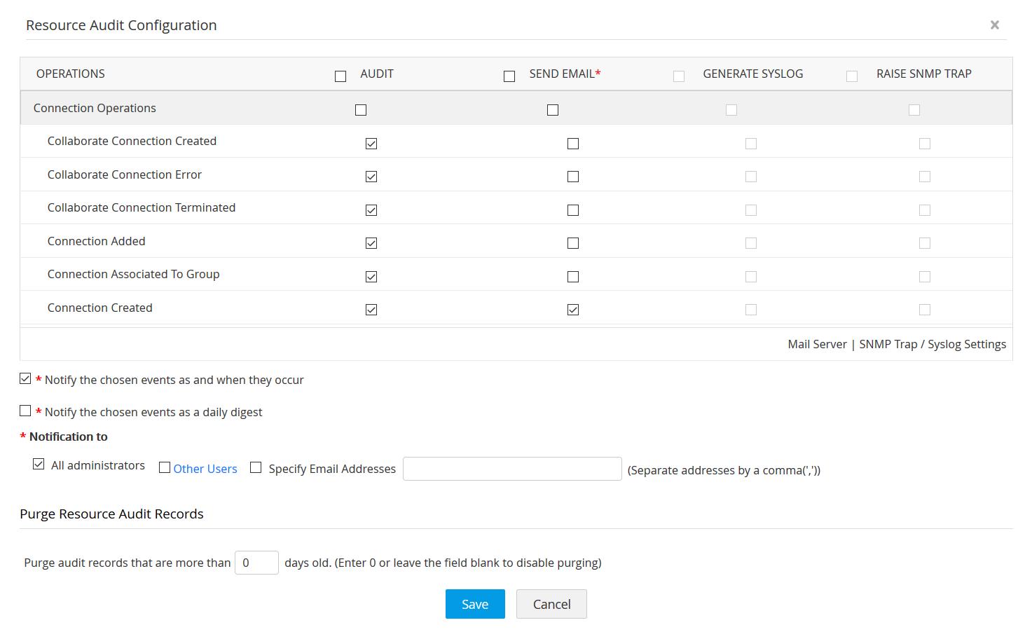 Resource audit configuration - Access Manager Plus