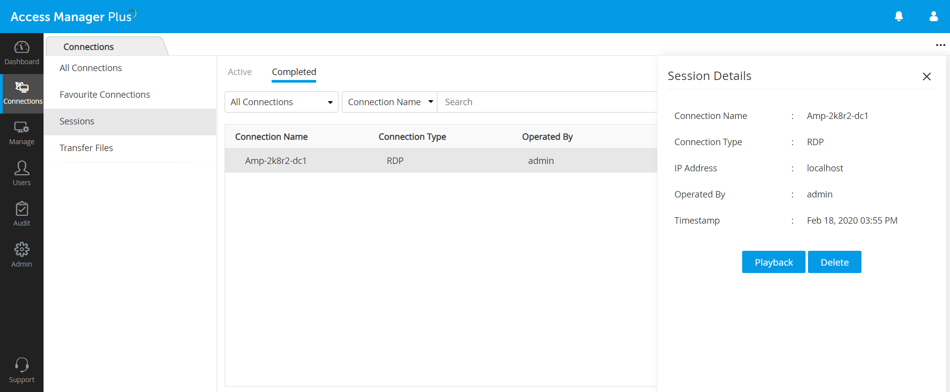 reviewing past sessions Access Manager Plus