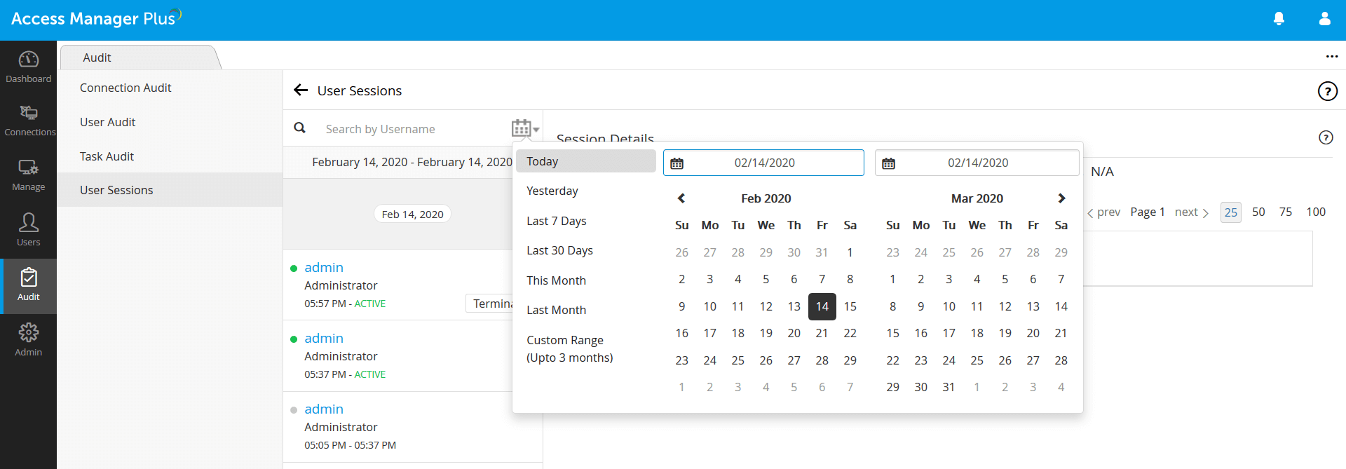 tracking privileged session Access Manager Plus