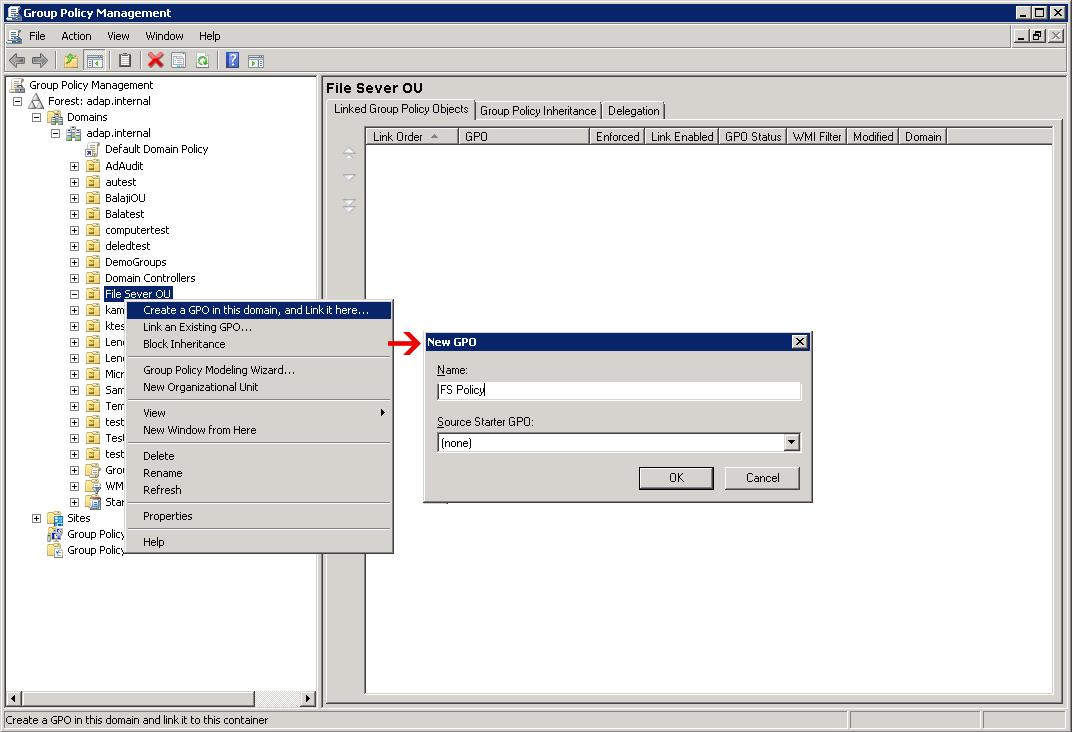 the group policy object and policy