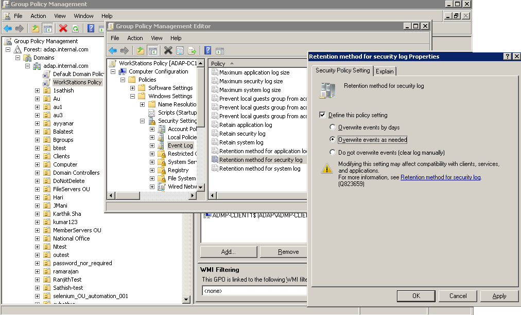 Configure Event Log Settings for Auditing