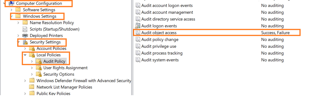 How to Audit Failed Access Attempts to a Shared Folder