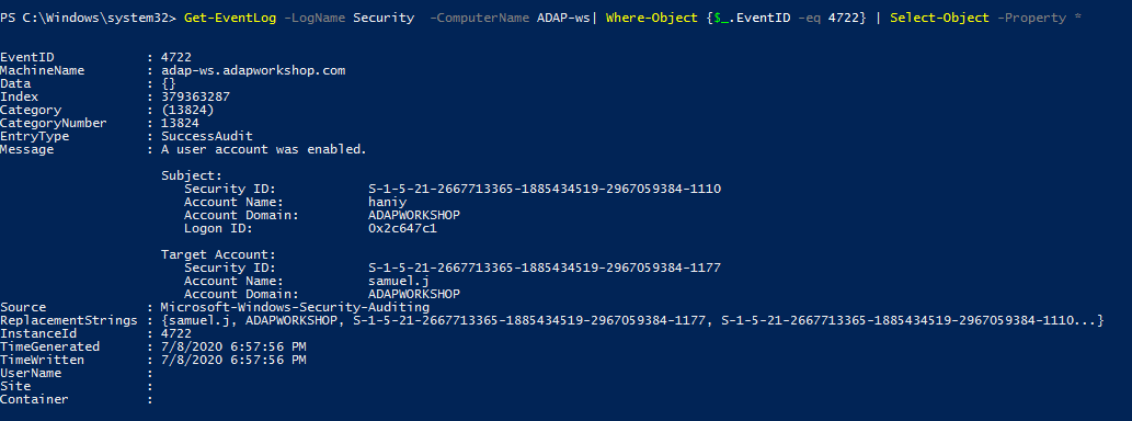 Steps to find who enabled a user account using PowerShell