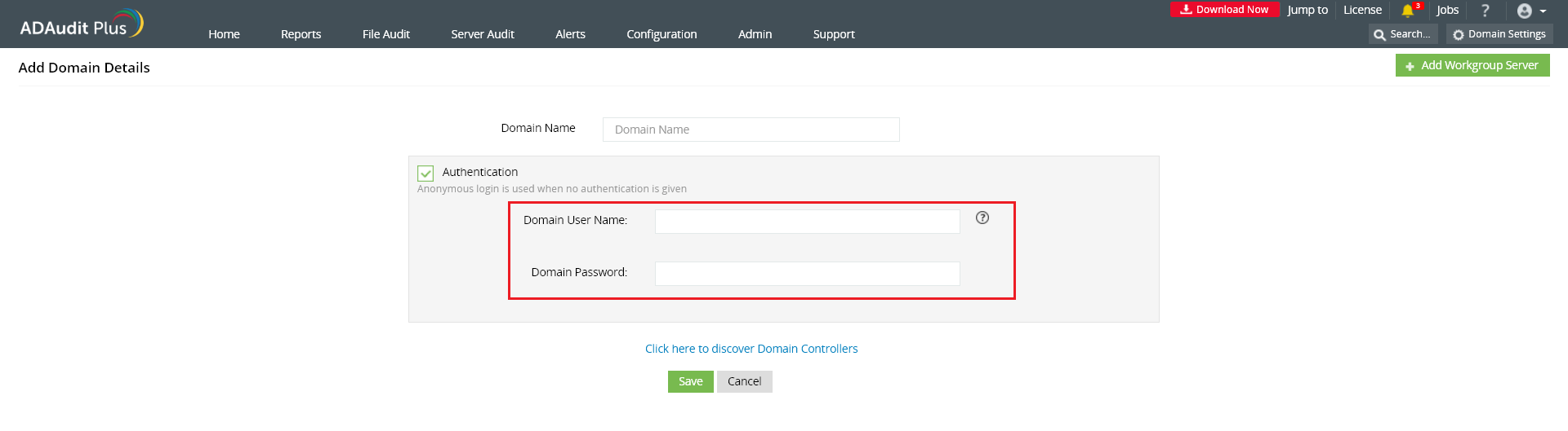 ADAudit Plus service account configuration