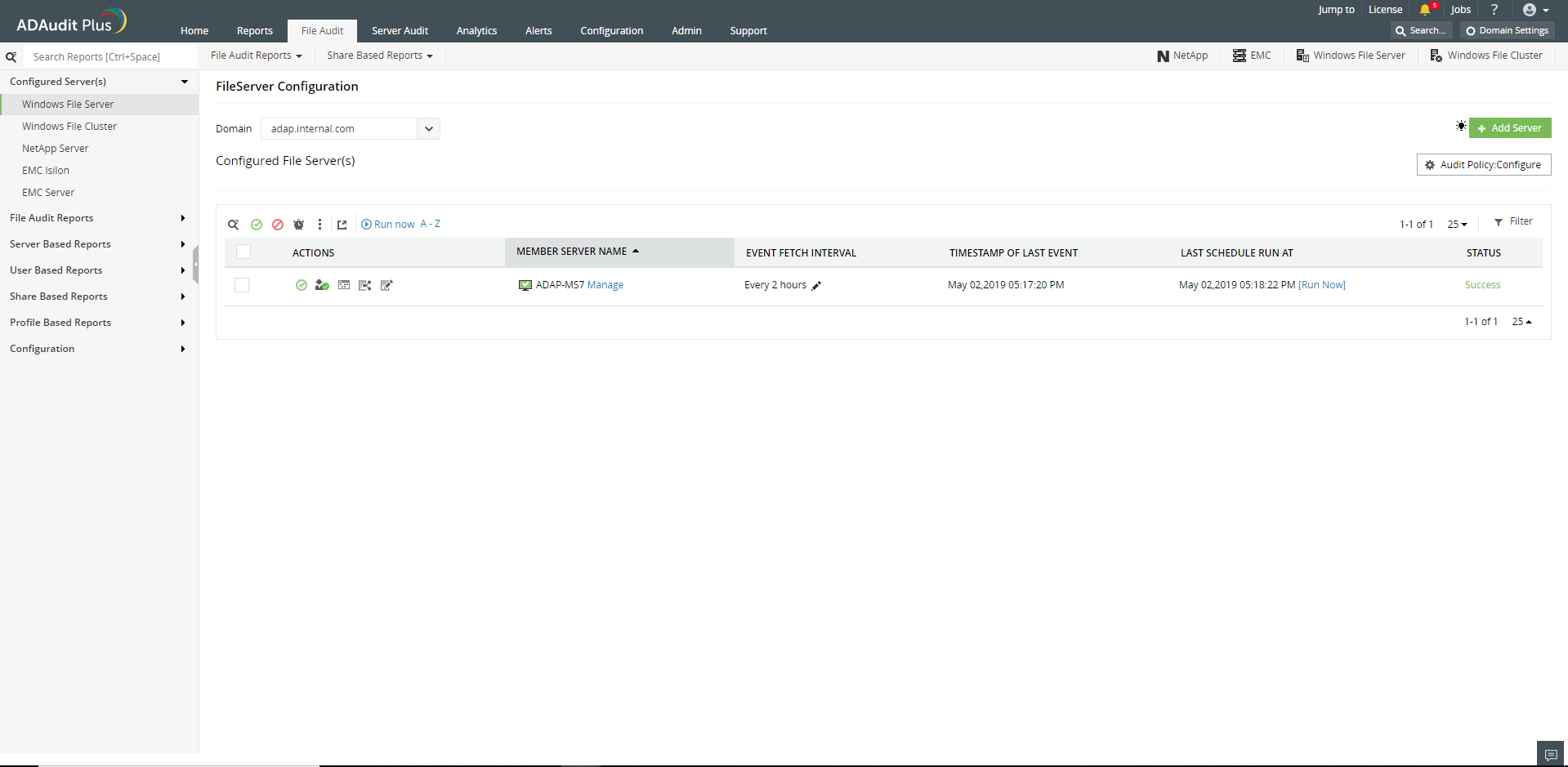 Manage Agent page