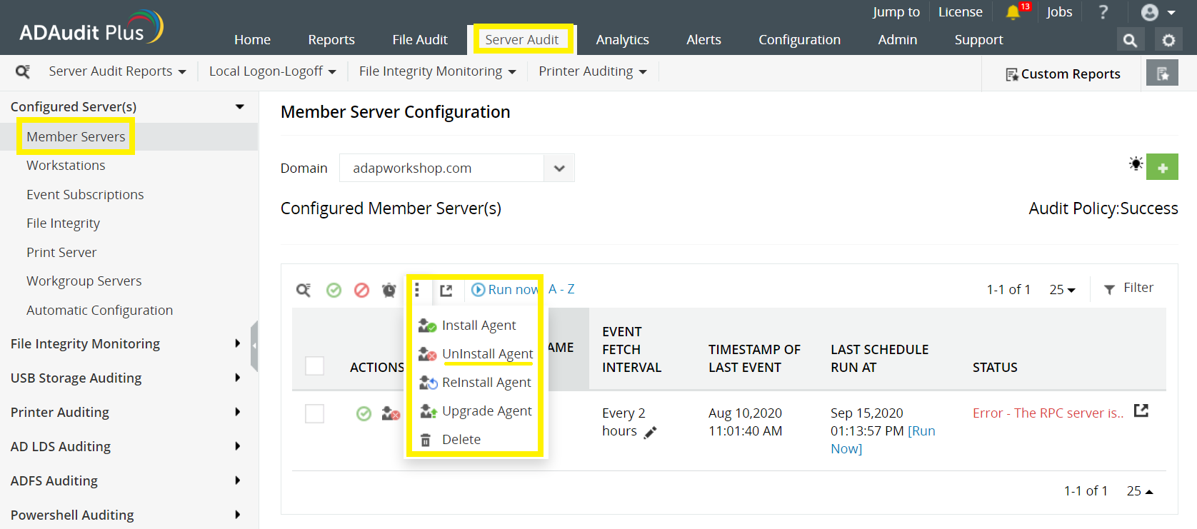 Server Configuration Settings page