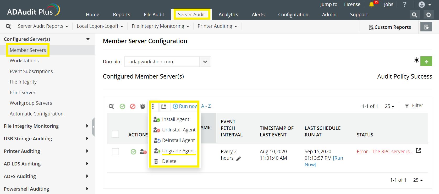 Configuración de la configuración del agente ADAuditPlus