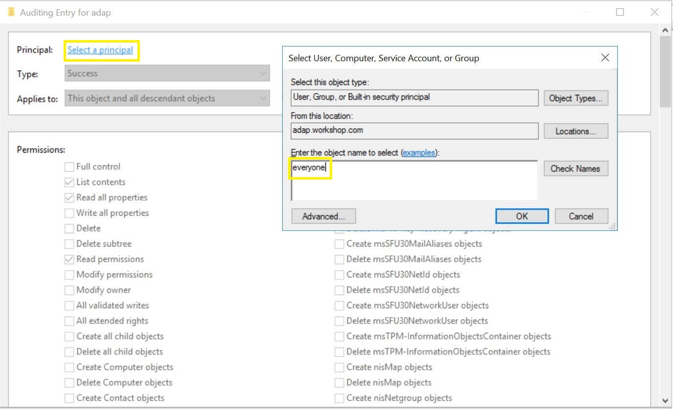 Advanced security settings for ADAP