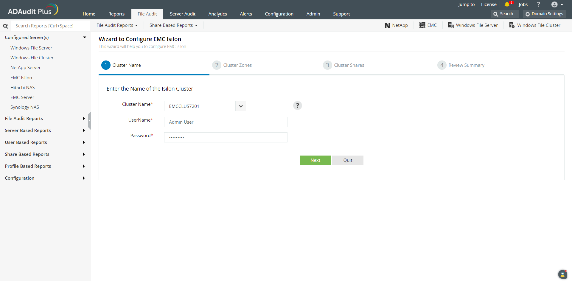 Adding EMC Isilon clusters in ADAudit Plus