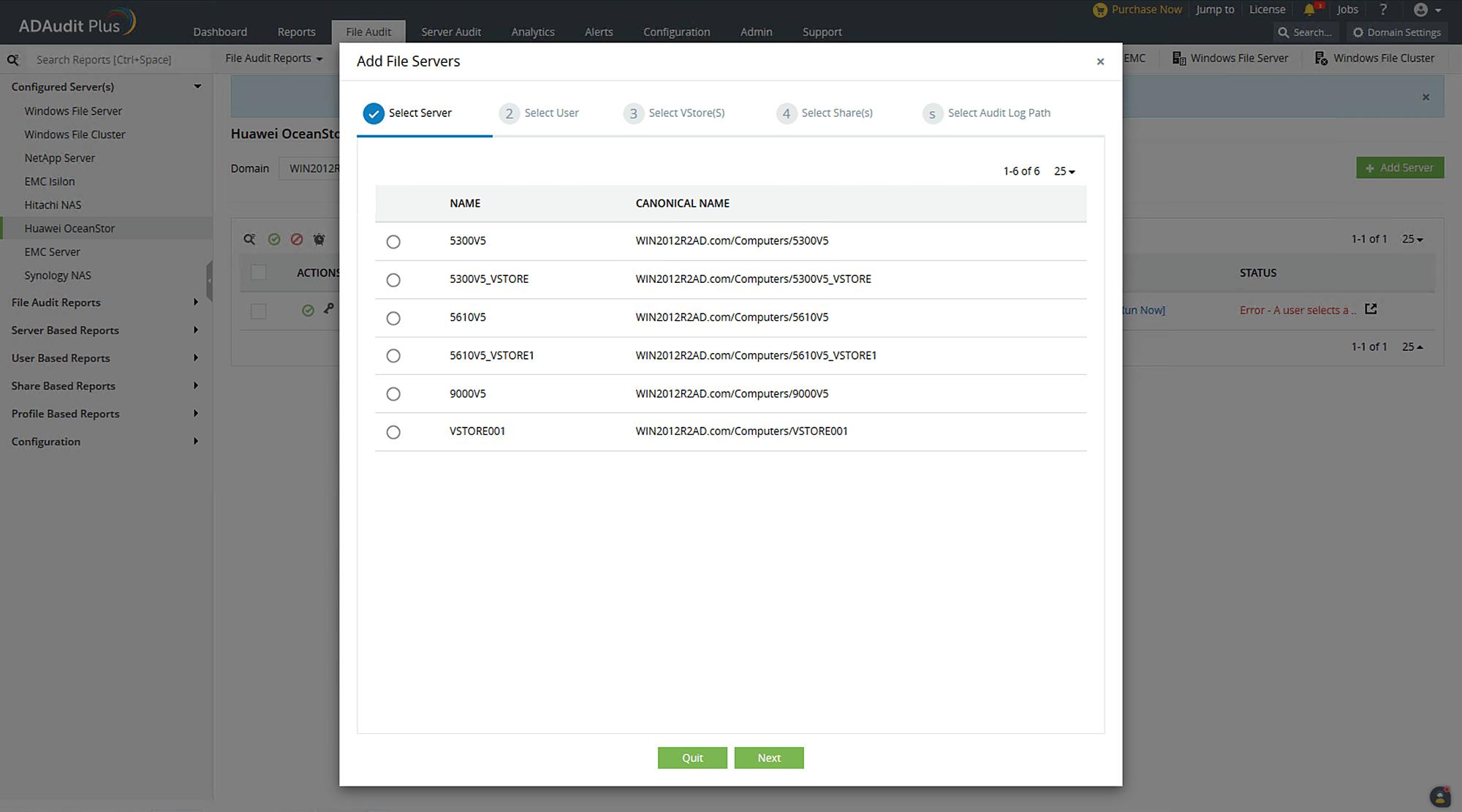 Adding Huawei OceanStor systems in ADAudit Plus