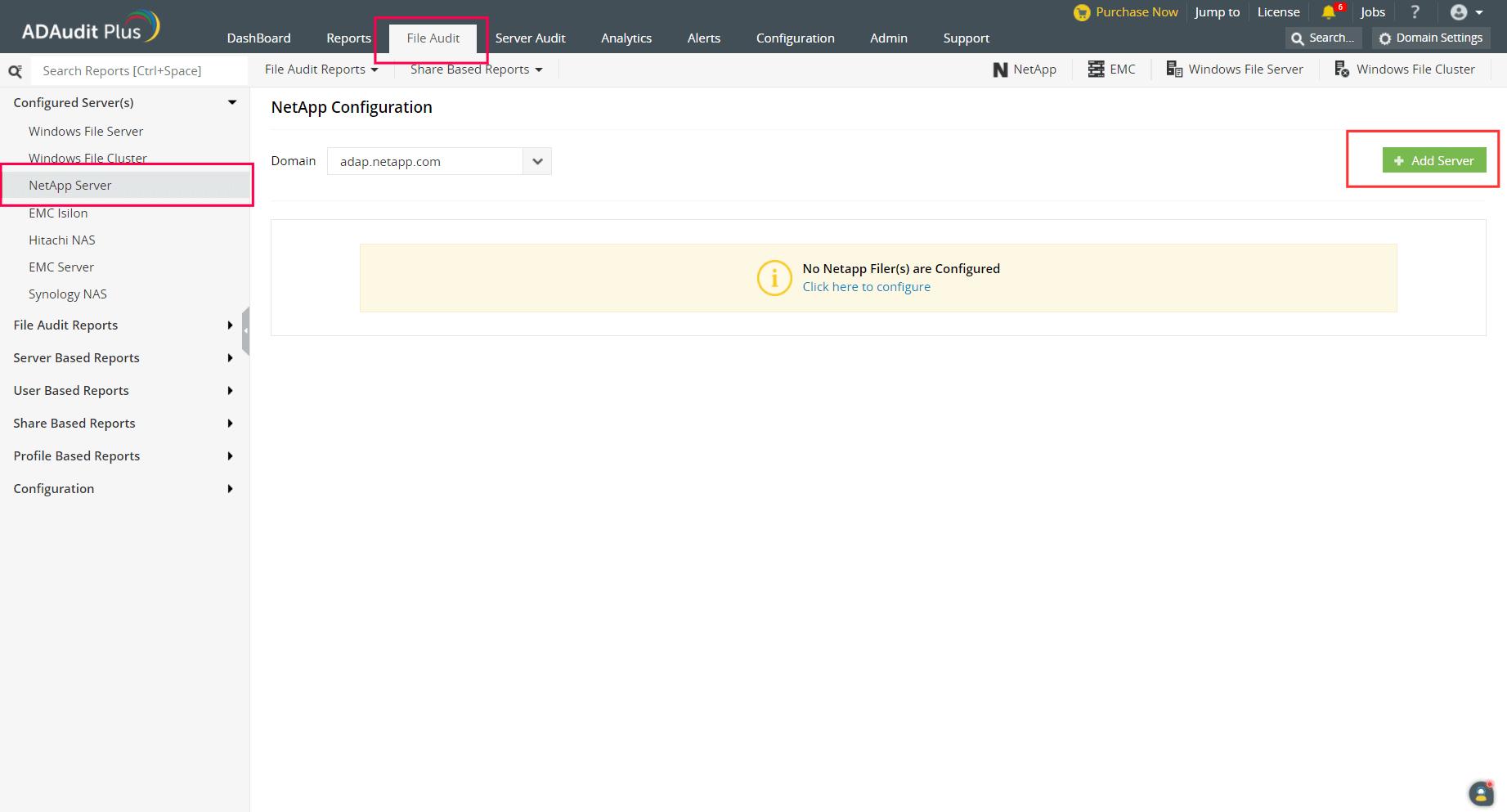 Choosing the NetApp server
