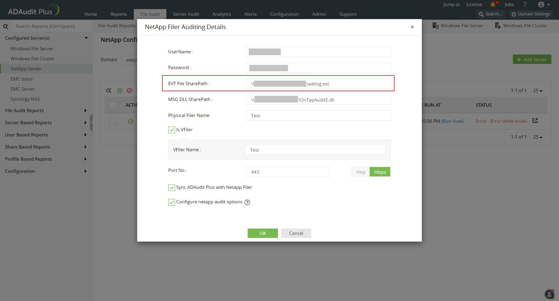 Adding NetApp 7Mode/vFilers in ADAudit Plus