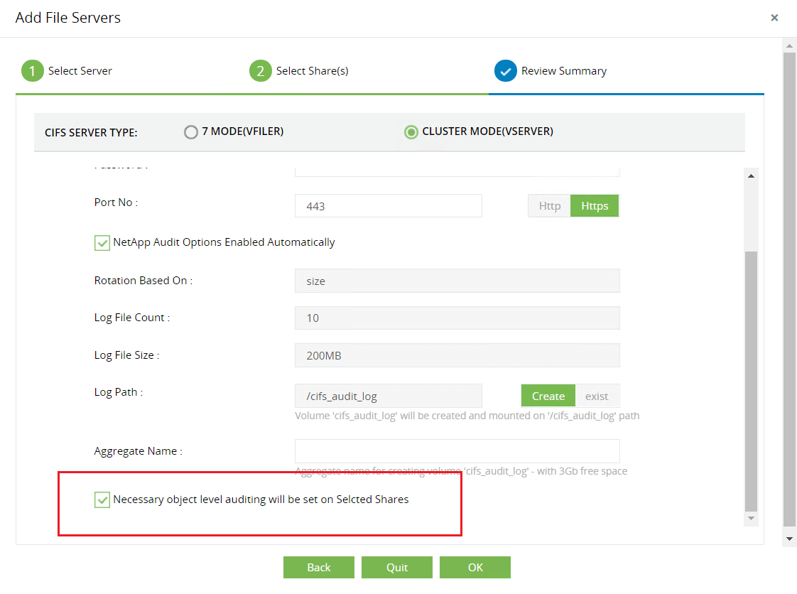 Configuring audit options