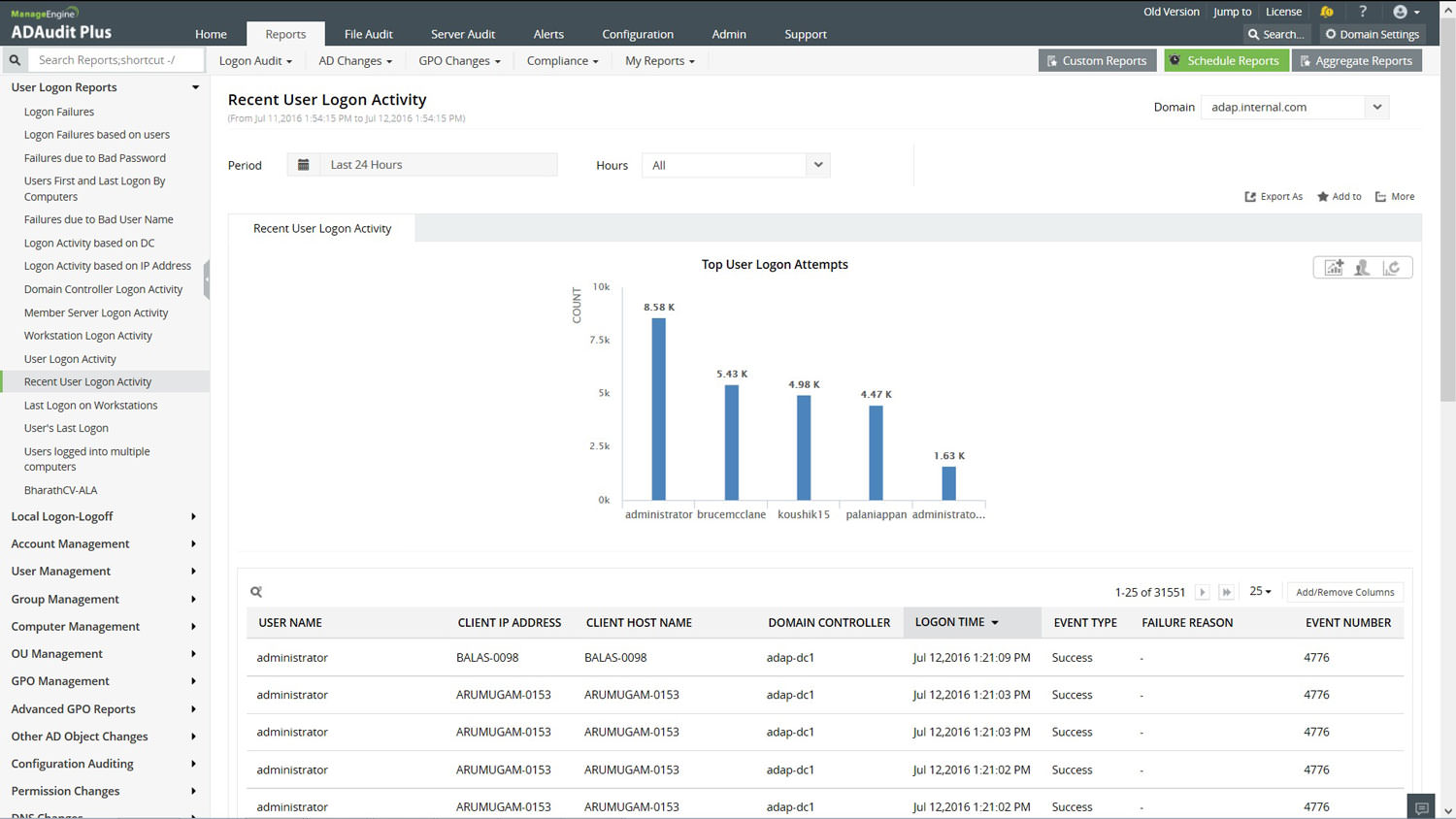 Audit and Track the Windows Server events with audit reports