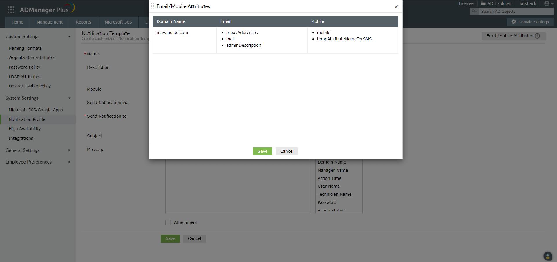 Notification Profile
