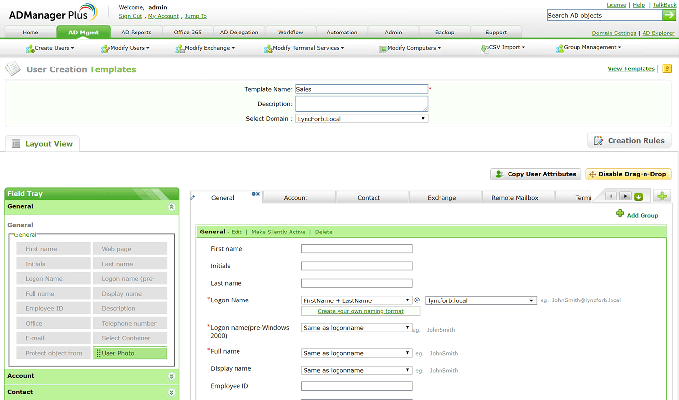 Template-based provisioning