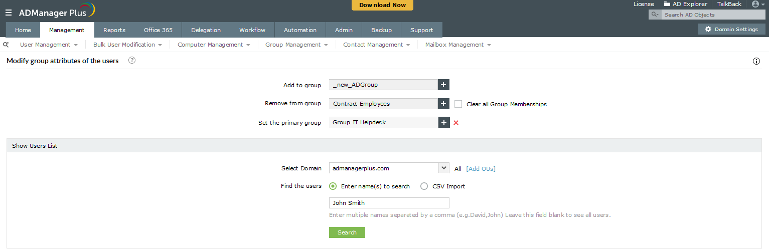 Add users to group using ADManager Plus