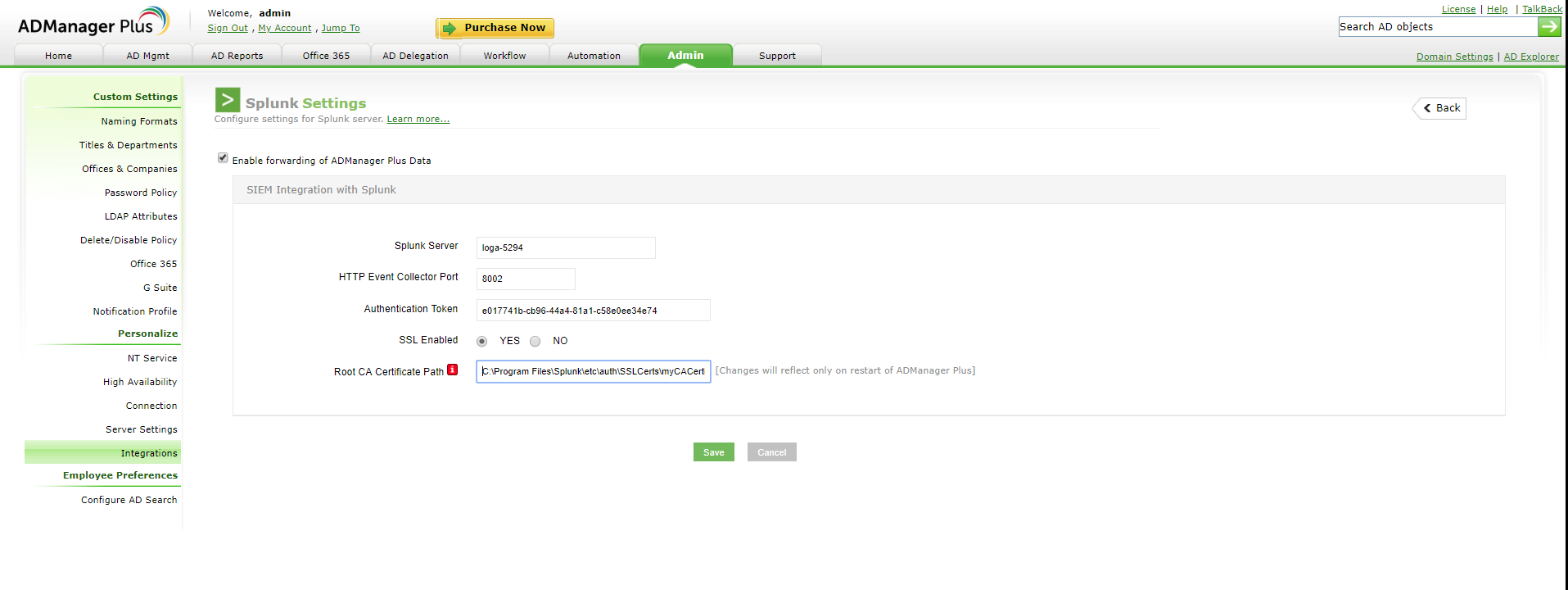 Integrate ADManager Plus with Syslog and Splunk servers